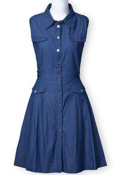 Blue Jean Dresses | Blue Lapel Sleeveless Buttons Denim Dress | My Style