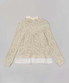 Look at this #zulilyfind! Oatmeal & Ivory Lace-Trim Sweater - Girls #zulilyfinds