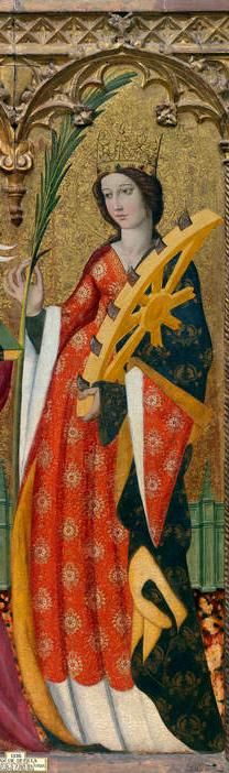 Saint Catherine by John of Seville, c. 1425 - she is shown with her attributes of a crown of glory, martyr's palm and wheel. Medieval World, Medieval Art, Religious Icons, Religious Art, St Catherine Of Alexandria, Saint Katherine, Medieval Paintings, Statues, Byzantine Icons