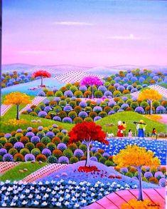 Ideas For Pop Art Painting Landscape Art And Illustration, Abstract Landscape, Landscape Paintings, Creation Art, Henri Rousseau, Funky Art, Naive Art, Whimsical Art, Belle Photo