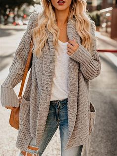 The cozy layer you'll reach for again, and again. Lantern sleeves and a relaxed silhouette make this the perfect option to throw on over any outfit. Material: Cotton, Polyester, Wool, Microfiber, Acetate & Mohair Best Cardigans, Cardigan Sweaters For Women, Cardigans For Women, Coats For Women, Clothes For Women, Fall Sweaters For Women, Loose Sweater, Tan Cardigan Outfit, Knit Cardigan