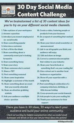 Elke dag een nieuwe content challenge om op verschillende sociale media te proberen