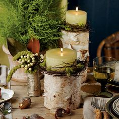 Red and green? So predictable. Create a rustic wonderland with this understated palette of gold, brown, and cream, which allows the rich texture of a cypress topiary and birch candle pillars to take center stage.    For an easy centerpiece, chisel a shallow cavity into a birch log. Insert a pillar candle into the indentation, and wrap with twigs and moss to finish the earthy look.
