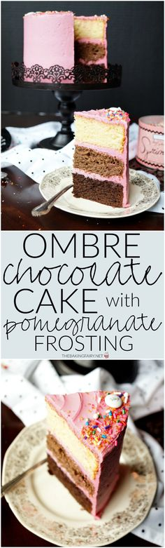 ombre chocolate cake with pomegranate frosting | The Baking Fairy