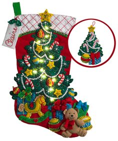 Christmas Tree Surprise is a April 2017 released Bucilla Stocking Kit carried by MerryStockings. We have all the new release kits available!