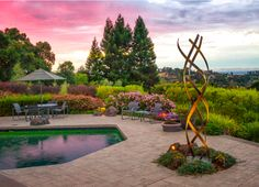 """""""Kismet,"""" a minimalist, weathered steel sculpture installed in a beautifully landscaped garden in Los Altos, CA. Landscape Architecture, Landscape Design, Garden Design, Steel Sculpture, Outdoor Sculpture, Contemporary Sculpture, Metal Structure, Abstract Sculpture, Garden Furniture"""