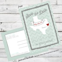 Custom DIY Printable File - Save the Date - State Your Date currently shown in Texas option and postcard backside design on Etsy, $15.00