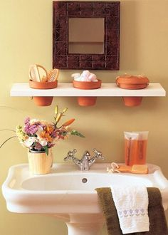 Here is a list of 31 creative storage and organization Ideas for a small bathroom. This one in the photo is a lovely and quirky idea. Most of this list is creative ways to do shelving and storage containers, but it's still a good home design design ideas Creative Storage, Diy Storage, Storage Ideas, Storage Solutions, Organization Ideas, Storage Hacks, Storage Design, Bath Storage, Creative Ideas