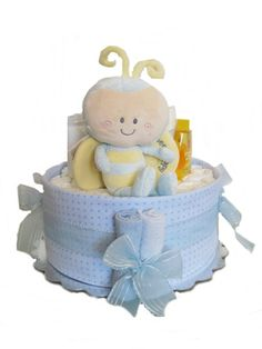 Nikkis by design new baby gift bouquet baby clothes wrapped like baby boy diaper cakes baby boy personalibees diaper cake 2 tier baby shower gift negle Images