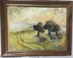 Small painting of Landscape (trees in meadow)