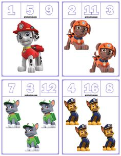FREE Paw Patrol Number Clip Cards Numbers and quickly added to our site. Meat, milk, vegetable foods, wonderful fruit and vegetable… Learning Numbers Preschool, Numbers Kindergarten, Teaching Numbers, Math Games, Toddler Activities, Preschool Activities, Paw Patrol Coloring Pages, Community Helpers Preschool, Kids Math Worksheets