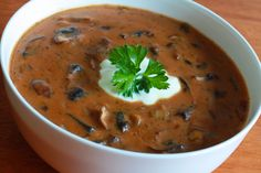 HUNGARIAN MUSHROOM SOUP     2 tablespoons butter  1 large onion, diced  12 oz mushrooms (cremini or white button mushrooms, chopped)  2 tablespoons paprika  2 teaspoons dill  1 teaspoon salt  1/4 teaspoons black pepper  3 tablespoons butter  2 tablespoons flour  1 cup milk  2 cups beef broth (use vegetable if going for a vegetarian version)  1 tablespoon soy sauce  1/2 cup sour cream  Parsley, chopped, for garnish  Extra sour cream, for garnish