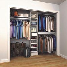 84 in. H x 45 in. to 105 in. W x 15 in. D White Melamine Reach-In Closet Kit