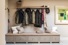 Chichester seat cabinets with Suffolk coat rack #neptune #storagesolutions www.neptune.com