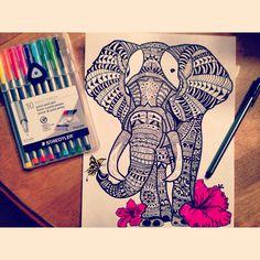 Elephant tattoo drawing