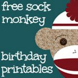 Lots of FREE sock monkey birthday printables- banner, cupcake toppers, hats, etc.- For Jillian Monkey First Birthday, Monkey Birthday Parties, Boy Birthday, Birthday Ideas, Birthday Cupcakes, Happy Birthday, Baby Shower Invitations For Boys, Birthday Invitations, Sock Monkey Party