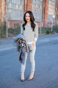 skinny sweats, stripes