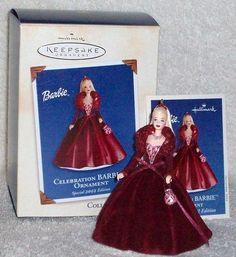 Hallmark Keepsake Ornament; Celebration Barbie. 2002.