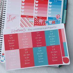 Planner header labels. #stickers #plannerstickers #planner #erincondren #erincondrenlifeplanner #eclp #jlynnpaperco #etsy #planneraddict #plannerlove #plannerjunkie #valentines #valentinesday