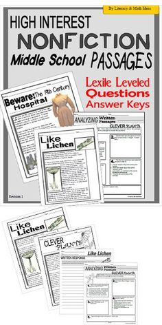 If you are looking for a way to get your middle school students interested in nonfiction, these passages will definitely help.  This document includes four high-interest nonfiction passages.  Students will learn unusual but true facts as they practice their close reading and comprehension skills. $