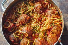 The beauty of using spiralized veggies as a substitute for pasta is that they don't need to be cooked separately. Just throw them right into the pan and in just a few minutes, they're soft and ready to be twirled on a fork. Using spiralized zucchini and frozen, cooked meatballs means that you can make this twist on spaghetti and meatballs in just one pot and in less than 30 minutes.