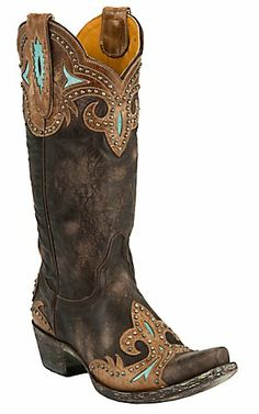 Old Gringo® Ladies Taka Distressed Dark Brown w/Turquoise & Studs Snip Toe Boots | Cavender's Boot City