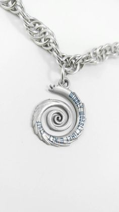 Stainless Steel Spiral Chainmaille Necklace with Doctor Who Pendant