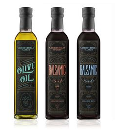 Elegant Details in CherryHills Market Olive Oil & Balsamic Vinegar Packaging — The Dieline - Branding & Packaging Design