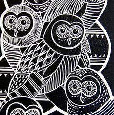 Owls Linocut print