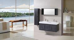 colonne salle de bain en bois gris anthracite, grande salle de bain avec vue
