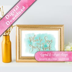 Printable guest book sign  Hello, thank you for visiting my shop, and congratulations on your upcoming wedding!  Add a touch of casual elegance to your wedding reception gifts table with this beautiful printable sign. ➖➖➖➖➖➖➖➖➖  🌸 The Emillie Watercolour Collection 🌸  The Emillie suite is a very relaxed and casual set of wedding stationery. Its based on the set I created for my own wedding. The loose flowing brush script is drawn by hand before being digitised and set over a light…