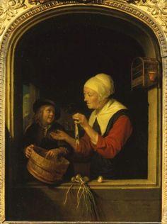 Gerrit Dou: Oude vrouw met haring en een jongen in een venster. Ook wel genoemd: de haringverkoopster. ca. 1650-1675. Pushkin Museum, Moscow.