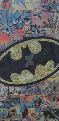 12x24 canvas, collaged image of the Batman Logo made with only comic, no ink or paint