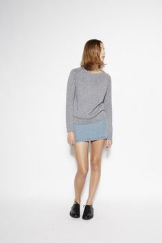 Raglan Knit in Blue/Grey Melange Relaxed fit raglan style knit. This light cotton jumper is perfect year-round, it's easy to wear and truly simple to care for! It features a 'flecking' effect, by using two yarn colours woven together. #SS14 #VanishingElephant