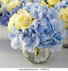 Bouquet of white and blue flower in vase of glass.