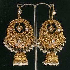JODHA AKBAR~50% SILVER~PEARL~BEADS GOLD TONE JHUMKI HOOP EARRINGS $72.00