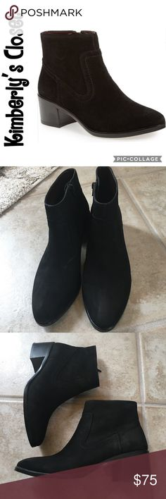 """BCBG ALLEGRO LEATHER BOOTIES Mix and match all your favorite outfits with these sleek booties form BCBGeneration. 2"""" stacked block heel. 4¾"""" shaft height. Closed almond toe. Side zipper closure at inner shaft. stitching accents around shaft.  Suede leather upper.  Only worn 2 times - bottom of soles were intentionally scuffed to prevent slipping, also a few scuff marks on suede (see photos around heel area and one slight scuff on front right boot).  Otherwise in very good condition…"""