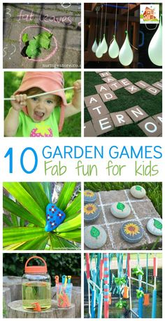 10 Great games and activities for kids to encourage play in the garden. Kids garden games are great for encouraging outdoor play and sparking imagination Yard Games For Kids, Outdoor Activities For Kids, Games For Toddlers, Spring Activities, Toddler Activities, Fun Activities, Outdoor Learning, Nature Activities, Outdoor Play Toddler