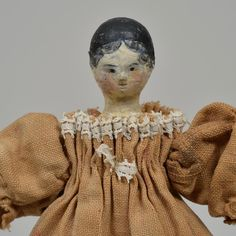 Tiny Grodnertal Peg Wooden Doll - 3.75 Inches from beckysbackroom on Ruby Lane
