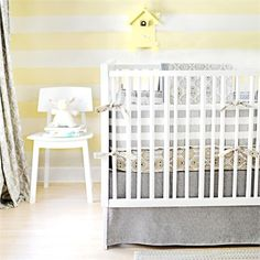 Modern baby crib bedding sets are no popular today as one of latest trends. Neutral crib bedding can be amazing choice to save your time, effort and cash. Baby Crib Bedding Sets, Nursery Bedding, Baby Cribs, Girl Cribs, Yellow Nursery, Nursery Neutral, Calming Nursery, Nursery Gray, Yellow Bedding