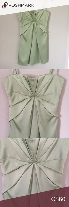 NEW!! BCBGMAXAZRIA Light Green Strapless dress A gorgeous dress new with tag $280 BCBGMAXAZRIA Light willow green Strapless dress Size 2 Fully line Zip closure Interior boning for added support 100% polyester Lining 100% polyester Style: Empire waist Material: Satin Design Features:	Empire Waist, Pleated Color: Green BCBGMaxAzria Dresses Strapless Willow Green, Plus Fashion, Fashion Tips, Fashion Trends, Bcbgmaxazria Dresses, Gorgeous Dress, New Dress, Empire, Size 2