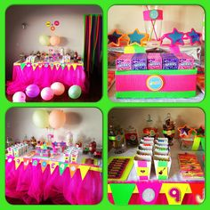 Neon Candy Buffet 80's Theme by Leanne's sweet Themed candy Buffet