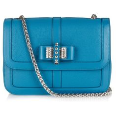 Christian Louboutin Sweet Charity small shoulder bag ($1,680) ❤ liked on Polyvore featuring bags, handbags, shoulder bags, christian louboutin, blue shoulder bag, teal handbag, clasp purse and bow purse