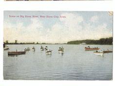 Vintage Postcard Scene Big Sioux River Sioux City IA boating circa 1910
