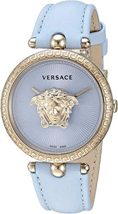 New Versace Women's Palazzo Empire Stainless Steel Quartz Watch Leather Calfskin Strap, Blue, 18 (Model: online shopping - Newtopgoods Stylish Watches, Luxury Watches, Cool Watches, Watches For Men, Versace Watches, Cheap Watches, Seiko Watches, Patek Philippe, Beautiful Watches