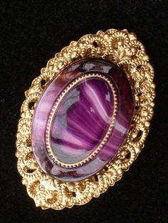 Purple Banded Agate Cabochon Pin Brooch w Goldtone Filagree Base W Germany