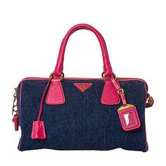 Prada - Denim/Saffrano leather trim bag