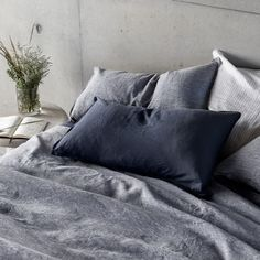 In Indigo & Ash Linen. As versatile as your favourite pair of jeans, our linen will take you from summer through to winter and right back again. Bedding Inspiration, Room Inspiration, Bedroom Inspo, Bedroom Colors, Charcoal Grey Bedrooms, House Color Palettes, Living Room Decor, Bedroom Decor, Bed Styling