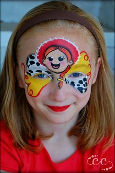 Toy Story Inspired, Cowgirl Jessie by Ashlie Alvey of in Savannah, Georgia Face Painting Themes, Disney Face Painting, Girl Face Painting, Balloon Painting, Belly Painting, Face Painting Designs, Painting For Kids, Face Paintings, Artistic Make Up