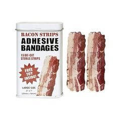 Very few people know of the amazing healing powers that bacon possesses. Bacon is so powerful, in fact, that they now make bacon bandaids to help quickly heal your open cuts and wounds. These novelty bacon bandaids are functional and tasty! Just In Case, Just For You, Band Aid, White Elephant, Gag Gifts, Food Gifts, Funny Gifts, Gifts For Teens, Kids Gifts